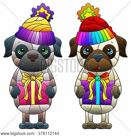 Set Of Illustrations In Stained Glass Style With Funny Cartoon Dogs, Animals Isolated On A White Bac