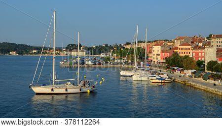 Rovinj, Istra, Croatia - June 24, 2017: Yachts Mooring At Rovinj Croatia On A Sunny Evening.