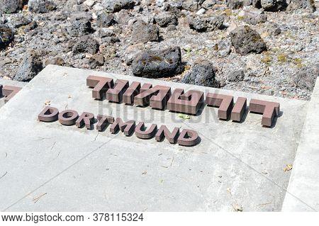 Belzec, Poland - June 12, 2020: Dortmund City Name At Belzec Extermination Camp Memorial.