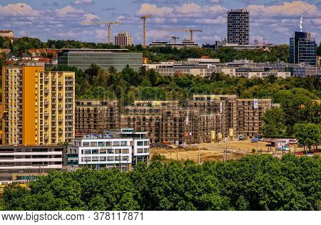 Stuttgart,germany - July 26,2020:the Centre This Is A Big Construction Site,surrounded From The Buel