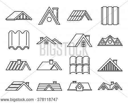 House Roof Icons Set. Outline Set Of House Roof Vector Icons For Web Design Isolated On White Backgr