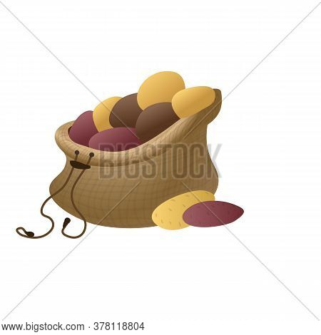 Open Potato Sack Icon. Cartoon Of Open Potato Sack Vector Icon For Web Design Isolated On White Back