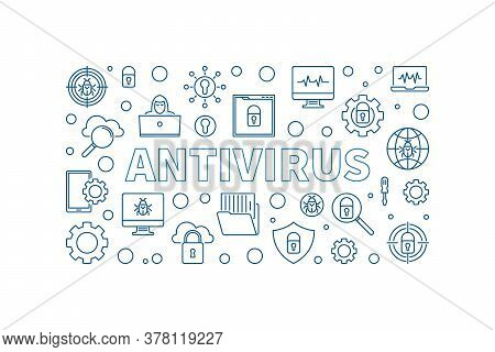Antivirus Vector Concept Outline Simple Horizontal Illustration. Computer Virus Protection Banner On