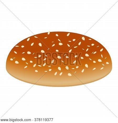 Burger Top Bun Icon. Cartoon Of Burger Top Bun Vector Icon For Web Design Isolated On White Backgrou