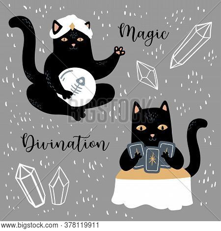 Cute Black Cat With Crystals. Funny Vector Fortune Teller, Magic And Divination Set. Witchcraft And
