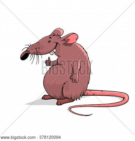 Rat On A White Background. Cartoon Rat Is Standing. Vector Rat