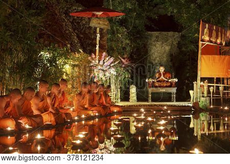 Chiang Mai Thailand - March 4 :magha Puja Day Is The Important Buddhist Holiday. Buddhist Monk Fire