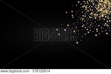 Gold Sparkle Bridal Black Background. Abstract Triangle Postcard. Yellow Confetti Golden Illustratio