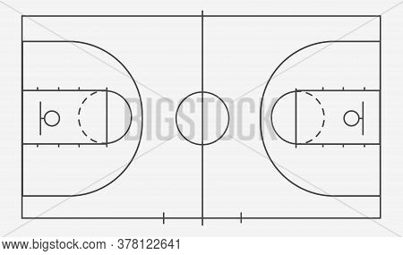 Isolated Basketball Court Ball Game On A White Field. Competitive Sport On The Site. Stadium With Bl