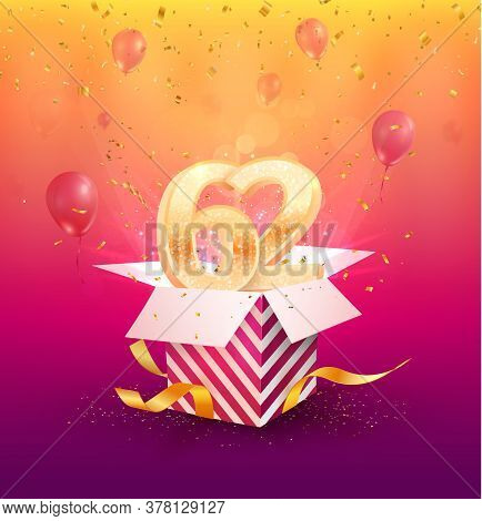 62nd Years Anniversary Vector Design Element. Isolated Sixty-two Years Jubilee With Gift Box, Balloo