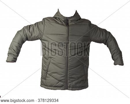 Mens Dark Green Jacket In A Hood Isolated On A White Background. Windbreaker Jacket. Casual Style