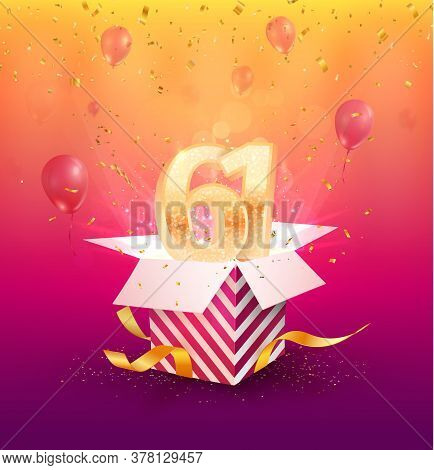 61st Years Anniversary Vector Design Element. Isolated Sixty-one Years Jubilee With Gift Box, Balloo