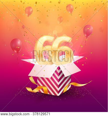 66th Years Anniversary Vector Design Element. Isolated Sixty-six Years Jubilee With Gift Box, Balloo