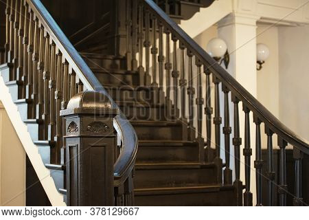 Old Wooden Stairs Of The Building Indoor
