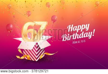 Celebrating 67th Years Birthday Vector Illustration. Sixty-seven Anniversary Celebration Background.