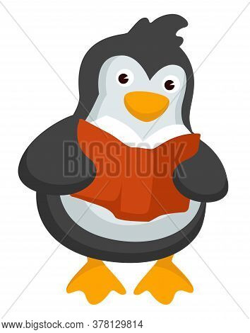 Penguin Reading Textbook, Studying Animal With Book Vector