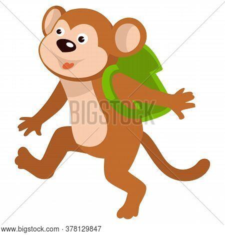 Baby Monkey Carrying Satchel On Shoulders Walking To School