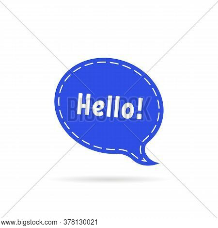 Dotted Speech Bubble With Hello Word. Cartoon Flat Comic Trendy Simple Logotype Graphic Art Design I