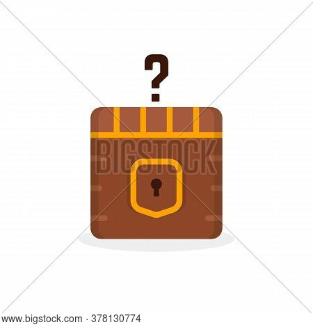 Cartoon Question Box Like Treasure. Concept Of Mmorpg Game Item For Micro Payments And Simple Quest