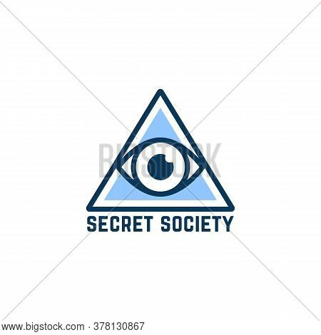 Simple Blue Secret Society Logo. Concept Of Conspiracy Theory Or Hidden Government. Linear Flat Styl