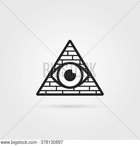 Black Secret Society Logo With Shadow. Linear Flat Style Trend Modern Simple Conspiracy Logotype Gra