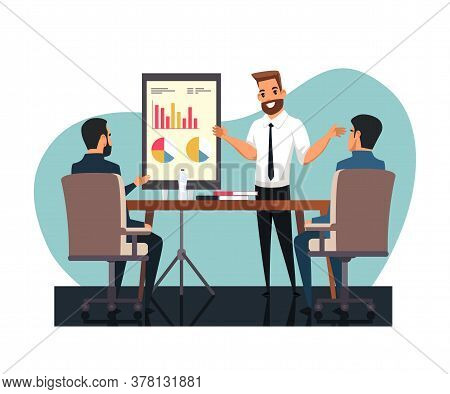 Businessman Character Reporting With Analytical Results Front Of Colleague, Business Partner. Execut