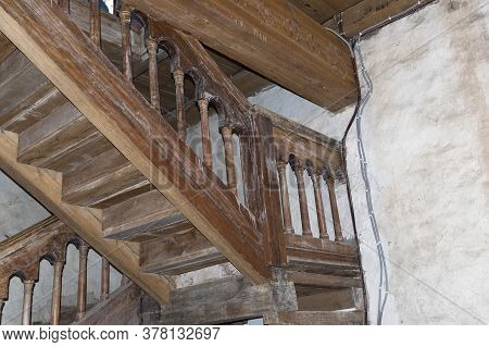 Internal Wooden Staircase In The Old Fortress Tower