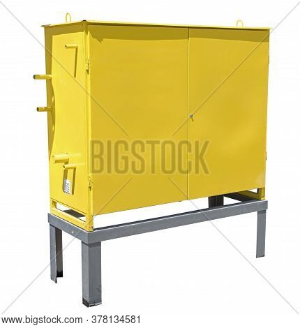 Yellow Metal Gas Distribution Box For Gas Equipment On White Background