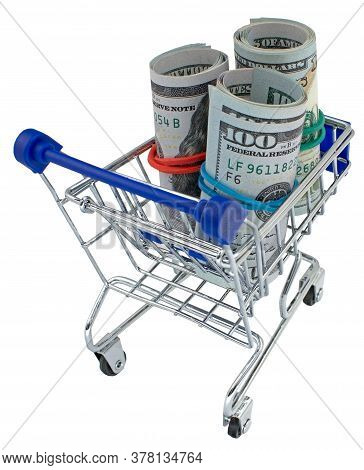Supermarket Grocery Push Cart For Shopping With Bundle Of Dollars Money Banknote Cash Isolated On Wh