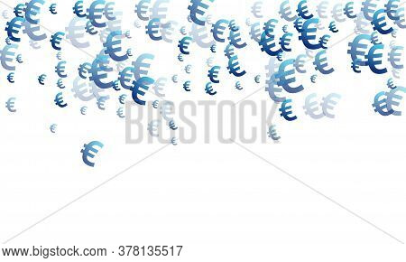 Euro Blue Icons Flying Money Vector Background. Business Concept. Currency Sign Euro Money Isolated