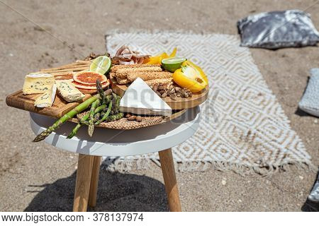 Summer Beautiful Romantic Picnic By The Sea . The Concept Of A Holiday