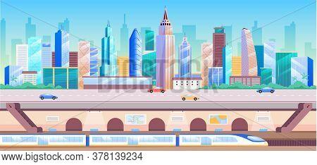 City Transportation Flat Color Vector Illustration. Modern Metropolis 2d Cartoon Cityscape With Skys
