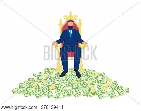 Successful Businessman Sitting On Throne Flat Concept Vector Illustration. Man Sitting In Chair On P