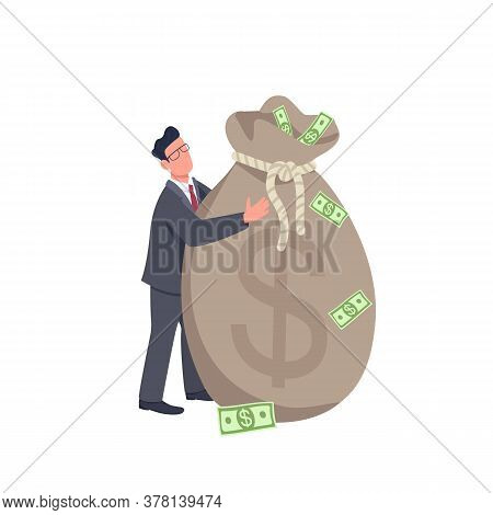 Businessman Holding Big Money Bag Flat Concept Vector Illustration. Financial Success. Man Standing