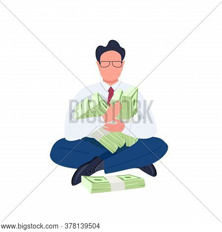 Man Holding Stacks Of Money Flat Color Vector Faceless Character. Businessman. Entrepreneur. Office