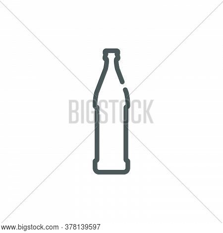 Beer Bottle In Flat Style On White Background. Simple Template Design. Beverage Icon Design. Isolate