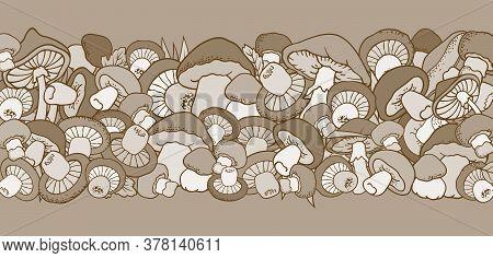 Mushrooms Nature Cartoon Vector Hand Drawn Border