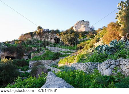 Scicli, Sicily, Italy. 1st January 2020. An Exterior View Of Abandoned Cave Dwellings, Or Sassi. Man
