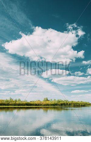 Rechytsa, Gomel Region, Belarus. Dnieper River. European Nature In Summer.