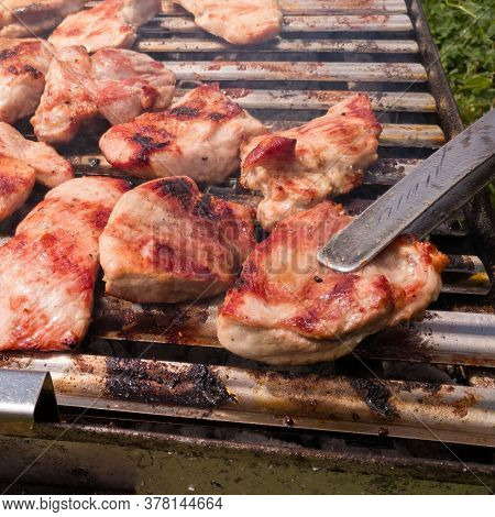 Close-up View Of Delicious And Juicy Marinated Pork, Fillets, Tenderloin And Sirloin Are Grilled Dur
