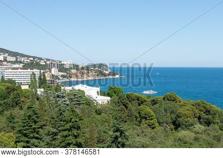 Beautiful View Of The City Near The Black Sea Coast On A Sunny Day. Seascape At The Southern Coast O