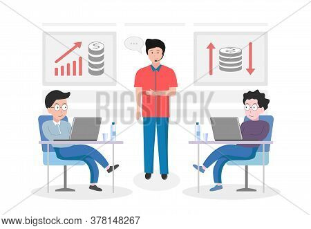 Vector Illustration Of A Business Project, Project Presentation. Training In Business Strategy, Fina