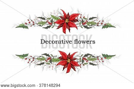 Vector Floral Banner Holly And Poinsettia Winter Symbol Of Winter. Handmade Doodling, In Realistic S