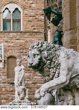 Lion At Loggia Dei Lanzi, Piazza Della Signoria, Florence, Italy