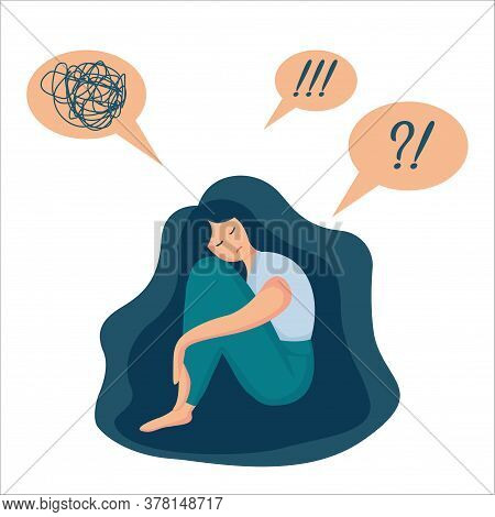 Cartoon Vector Illustration Of Psychological Concept. Sad Lonely Woman In Depression With Long Beaut