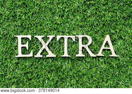 Wood Alphabet Letter In Word Extra On Green Grass Background