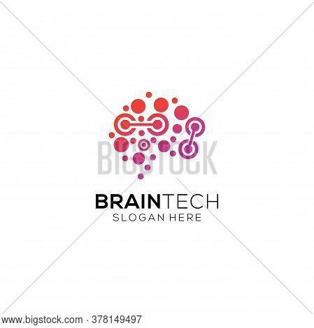 Illustration Of Brain Technology Logo Design. Digital Tech Tech Logo Design Digital Tech Tech Logo W