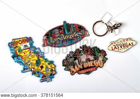 Tourist Souvenirs Of The Usa Cities. Trinket Magnets Of California, San Diego, Los Angeles And Las V