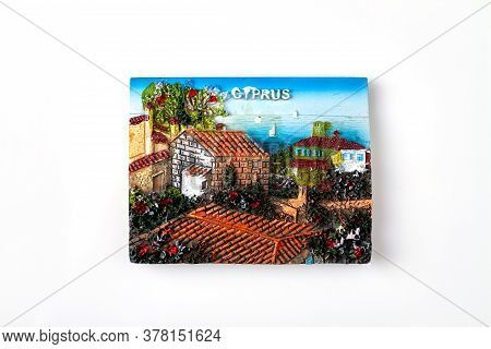 Cyprus Tourist Souvenir. Relief Artwork Of Cyprus Landscape. Isolated On White Background.