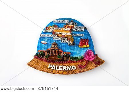 Handmade Tourist Souvenir From Palermo. Cities Map. Isolated On White Background.
